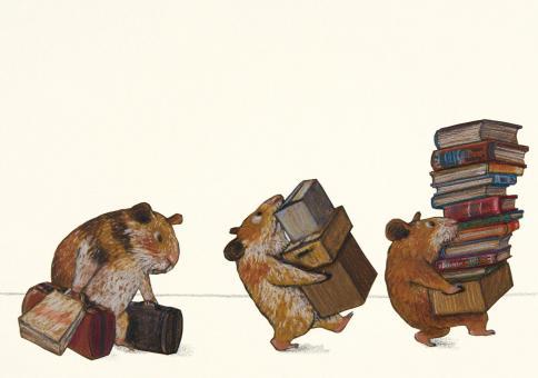 Bücherhamster ziehen um Postkarten VE 10